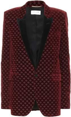 Saint Laurent Star-embroidered velvet blazer