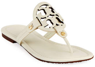 Tory Burch Miller Leather Logo Flat Slide Sandals