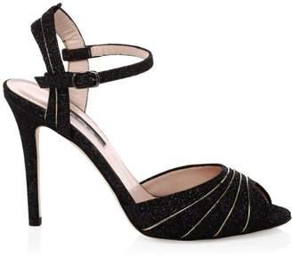 5b63224a7e8 Sarah Jessica Parker Monroe Glitter Peep-Toe Heels
