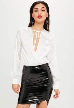 Missguided White Satin Tie Detail Wrap Bodysuit