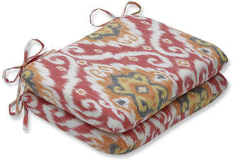 PILLOW PERFECT Pillow Perfect Set of 2 Ubud Coral Rounded Corners Patio Seat Cushion