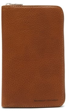 Brunello Cucinelli Grained Leather Travel Wallet - Mens - Tan