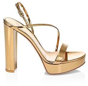 Gianvito Rossi Women's Kimberly Platform Metallic Leather Slingback Sandals