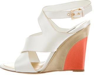 Louis VuittonLouis Vuitton Satin Wedge Sandals