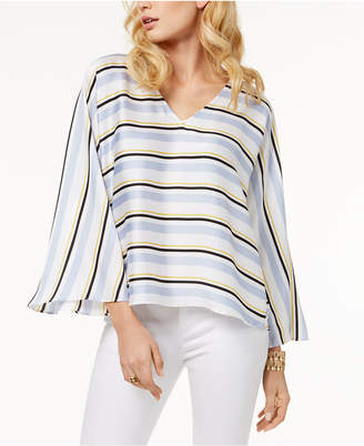 INC International Concepts I.n.c. Striped Bell-Sleeve Top