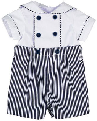 Florence Eiseman Fine-Wale Double-Breasted Sailor Shortall Set, Navy/White, Size 3-24 Months $80 thestylecure.com