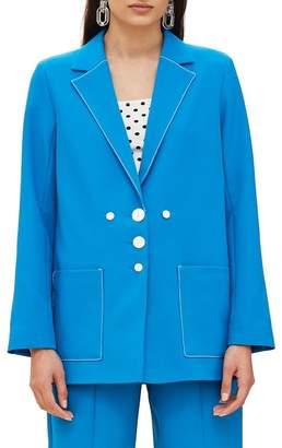 Topshop Azure Contrast Stitch Suit Jacket