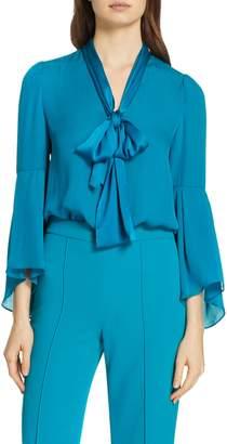 Alice + Olivia Merideth Tie Neck Silk Blouse