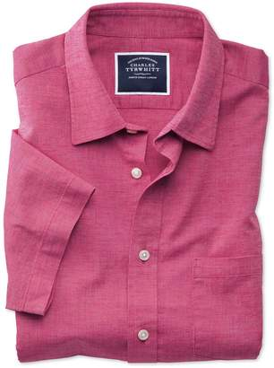 Charles Tyrwhitt Slim Fit Bright Pink Cotton Linen Short Sleeve Cotton Linen Mix Casual Shirt Single Cuff Size XS
