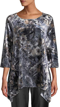 Caroline Rose Round-Neck Foggy Floral-Print Stretch-Velvet Swing Tunic