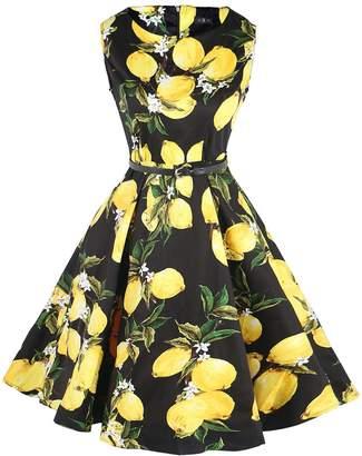 Fit Design Women's 1950s A Line Vintage Dresses Audrey Hepburn Style Floral Party Dress (, Color03)