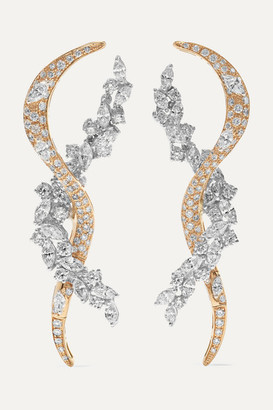 YEPREM 18-karat Yellow And White Gold Diamond Earrings