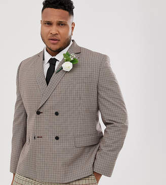 Asos Design DESIGN Plus wedding slim double breasted check blazer in camel