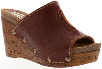 Sbicca Leather Wedge Clog Sandals - Karina