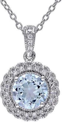 FINE JEWELRY Genuine Sky Blue Topaz and 1/10 CT. T.W. Diamond Pendant Necklace