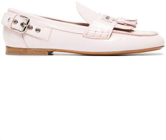 Miu Miu Pink 15 patent leather brogues with tassels