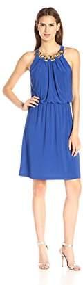 MSK Women's Chain Neck Blouson Solid Knit Dress