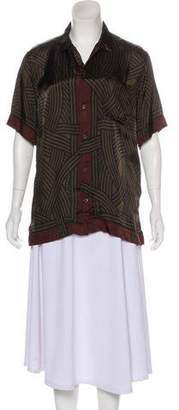 Dries Van Noten Printed Short Sleeve Button-Up Top
