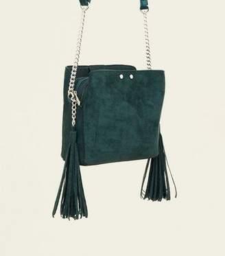 New Look Dark Green Suedette Tassel Trim Bucket Bag
