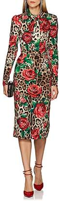 Dolce & Gabbana Women's Leopard- & Rose-Print Silk Dress