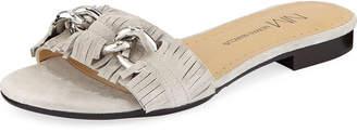 Neiman Marcus Ethel Flat Kiltie Suede Slide Sandal