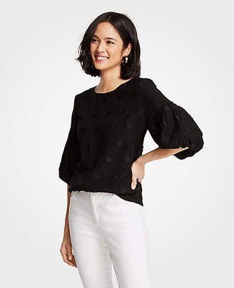 Ann Taylor Clip Dot Balloon Sleeve Top