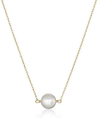14k Yellow Gold 8-8.5mm Round Japanese Akoya Cultured AAA Quality Pearl Chain Necklace