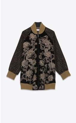 Saint Laurent Embroidered Long Velvet Varsity Jacket