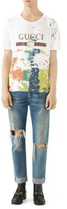 Gucci Cotton Tie-Dye T-Shirt with Gucci Print $550 thestylecure.com