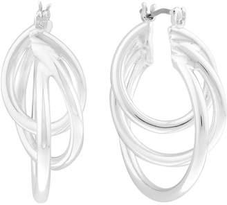 Liz Claiborne Silver-Tone Triple Twist Hoop Earrings