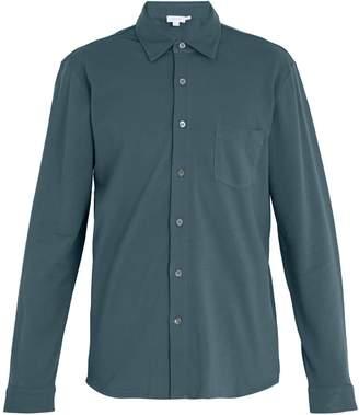 Sunspel Long-sleeved cotton-piqué shirt