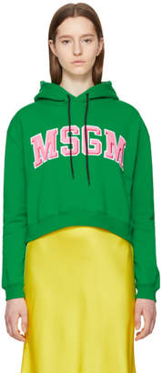 MSGM Green Embroidered College Logo Hoodie