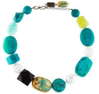 Philippe Ferrandis Faux Pearl, Resin & Turquoise Bead Strand Necklace