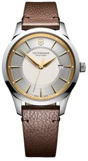Victorinox Alliance Stainless Steel and Textured Leather-Strap Watch