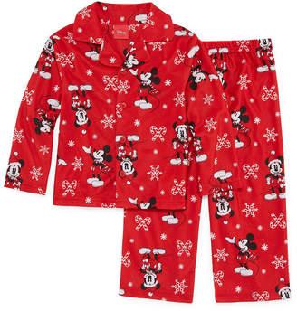 Disney Boy's Mickey/Minnie 2 Piece Coat Front Pajama Set