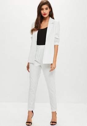 Missguided White Pinstriped Blazer