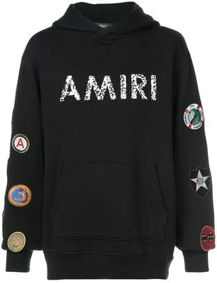 Amiri logo patch hoodie