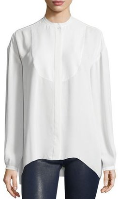 Elizabeth and James Long-Sleeve Bibbed Chiffon Blouse, Ivory $295 thestylecure.com