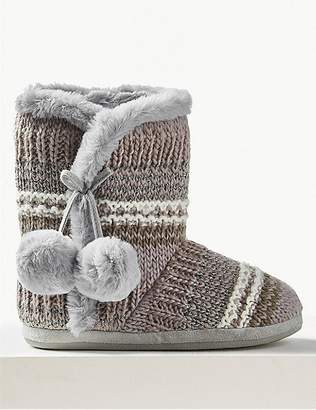Marks and Spencer Faux Fur Pom-Pom Slipper Boots