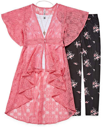 Knitworks Knit Works Floral & Lace Duster Legging Set - Girls' 4-16 & Plus