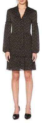 Laundry by Shelli Segal Tie Neck Polka Dot Ruffle Trim Dress