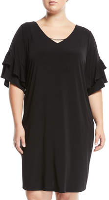 Iconic American Designer Tiered-Sleeve Necklace Shift Dress, Plus Size