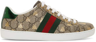 Gucci Beige GG Supreme Ace Bee Sneakers