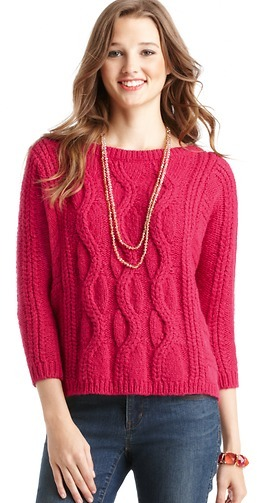 LOFT Chunky Cable 3/4 Sleeve Popover