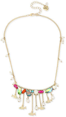 "Betsey Johnson Gold-Tone Multi-Stone Fish Statement Necklace, 15-1/2"" + 3"" extender"