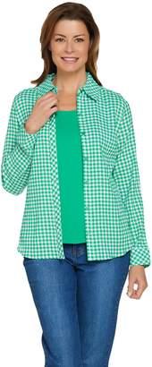 Denim & Co. Woven Gingham Button Front Shirt & Knit Tank Top Set