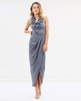 Shona Joy Luxe Plunge Frill Draped Dress