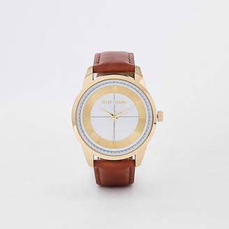 River Island Light brown gold tone face watch