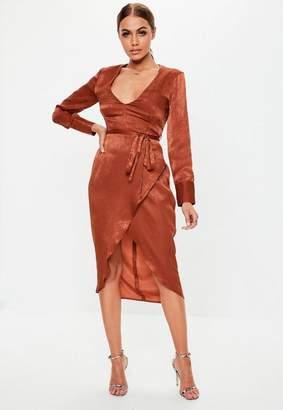 6eb729e815 Missguided Rust Long Sleeve Wrap Satin Midi Dress