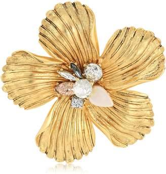 Badgley Mischka Encrusted Flower Brooch and Pin